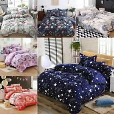 3/4Piece Printing Duvet Cover King Size Plain Quilt Bedding Set King Queen Size