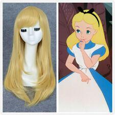 Alice In Wonderland Alice Heat Ok Long Straight Blonde cosplay Wig+a wig cap