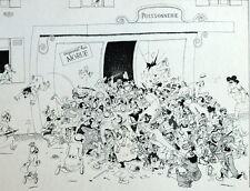Queue de morue Ravitaillement Possonnerie Poisson Caricature Albert Dubout 1944