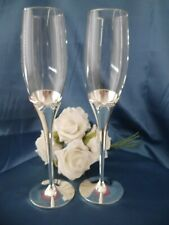 Wedding Champagne Toasting Flutes Crystal Glasses Silver Plated Bow