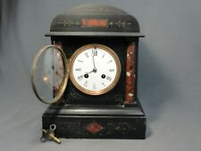 Antique Black Slate A.D. Mougin French Mantel Clock Red Marble Columns Working