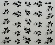 Nail Art 3D Decal Stickers Beautiful Butterflies with Silver Dot Accents YG055