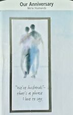 ANNIVERSARY Card SAME SEX LGBT 2 MEN / WE'RE HUSBANDS Hallmark 46R