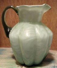 Vintage 80's Fenton Art Glass Green & White Cased Glass Fern Optic Small Pitcher