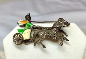 Sterling Enamel Marcasite Chariot Horse Brooch Articulated Roman Egyptian Reviva