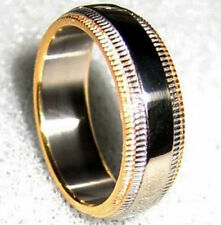 High Polished TITANIUM RING BAND with Gold Plated TIPPED Edges, size 10