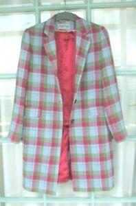 Luxury DONEGAL DESIGN Tweed Coat fits12 UK knee length, aqua, green , pink check