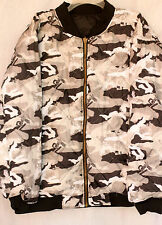 Avirex Military Gray & Black Camouflage Reversible 2 in 1 Mens Jacket Size 2XL