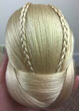 light blonde fake pony tail clip sew on braid plait bun hair extension undo new