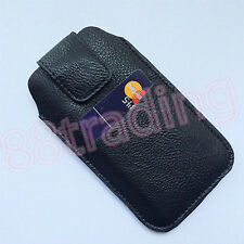 Vertical Leather Waist Carry Case with Front Card Slot for Large Mobile Phone