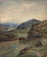 ALFRED ADDY (1866-1930) Watercolour Painting SHEEP IN MOUNTAIN LANDSCAPE c1900