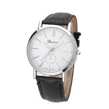 Men`s Silver Geneva Quartz White Faced Black Band Wrist Watch.(Aussie Seller)
