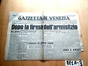 SECONDA GUERRA GAZZETTA DI VENEZIA  9 10 SETTEMBBRE 1943 ARMISTIZIO   (8E1A-3)