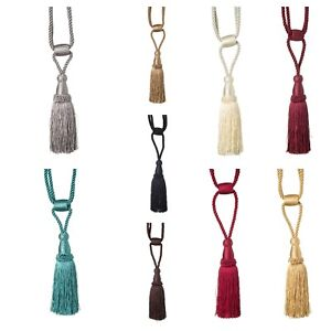 Luxury Curtain Tie Back Tassels Cords Hold Backs - Barrel Style 10 Colours