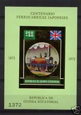 Equatorial Guinea 1972 Japanese Railway GOLD MNH S/S #4