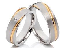 2  Ringe Trauringe Eheringe Verlobung Edelstahl mit Gravur & 1 Diamant
