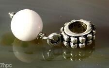 White Agate Dangling Ball Crystal Gemstone Charm Bead Reiki Blessed Gem Stone