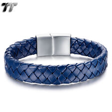 TT Thick Blue Leather 316L Stainless Steel Cilp Bracelet (BR223F) NEW Arrival
