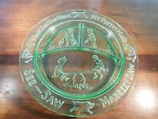 Vintage Green Children's Child's Glass Tri Sectional Plate