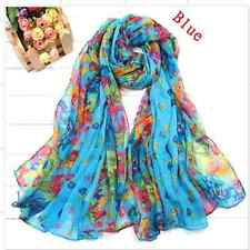 Chic Pure Girls Womens Long Crinkle Soft Scarf Wrap Voile Wraps Shawl Blue New #