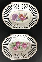 LOT OF 2 Vintage Bavaria Germany Lattice Reticulated Floral Oval Dish Dish