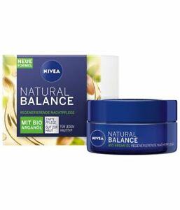 2 x 50ml NIVEA natural balance Moisturising Night Care without parabens New