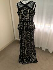 Mr K - Elegant Black Lace Formal Dress with peplum skirt - size (14)