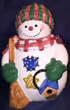 """NEW 12"""" Large HollyTree CHRISTMAS SNOWMAN COOKIE OR CANDY JAR Handpainted"""