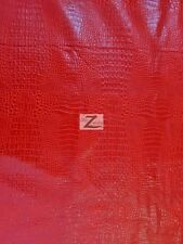 "ALLIGATOR EMBOSSED FAUX LEATHER VINYL FABRIC - Fire Red - 56""/58"" WIDTH CROC"