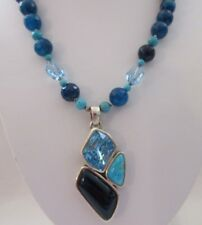 BARSE Sterling Silver Genuine Turquoise Agate Glass Bead NECKLACE Pendant Signed