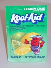 Vintage 90's Kool - Aid Lemon Lime Flavored Soft Drink Mix Sealed Package Packet