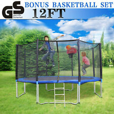 12FT Round Outdoor Trampoline With Safety Net Enclosure Spring Pad Cover  Ladder