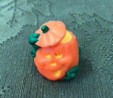 Vintage Hallmark Merry Miniatures Halloween Pumpkin Tipping Hat Lid Vine Arms
