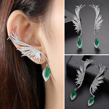 Vintage Women Wedding Jewelry Phoenix Feather Water Drop Dangle Stud Earrings