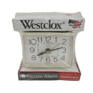 Vintage WESTCLOX Alarm Clock Model 22190 Bold II  Electric White New Lighted Dia