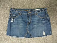 Billabong Medium Blue Faded Denim Mini Skirt w/Stitching & Frayed Design, sz 9