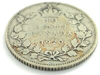 1920 Canada 10 Ten Cent Dime Circulated George V Canadian Coin L468