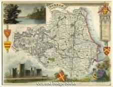 THOMAS MOULE Hand-coloured map of COUNTY DURHAM c1840 Raby Castle
