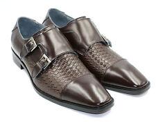 abdc67d258e Steve Harvey Brown Double Buckle Monk Strap Weave Design Cap Toe Shoe 10