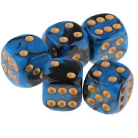 5pcs New Square 16mm Six Sided D6 Opaque Standard Game Dice 16mm Dark blue