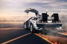 DELOREAN DMC-12  Back To The Future Image A4 Poster Laminated + Free Swap Card