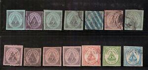 Honduras,Scott#1-2,14 stamps,MH+used