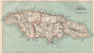 Island of JAMAICA. Counties. BARTHOLOMEW 1886 old antique map plan chart