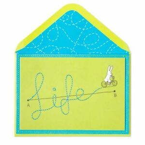Papyrus Bunny Rabbit On Bike bicycle Blank Card - Life embroidered, pom pom tail