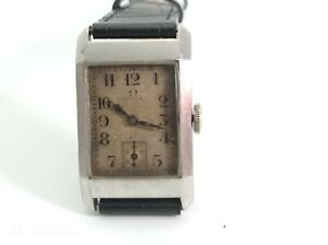 "OMEGA ""TANK"" ART DECO COLLECTIBLE MEN WATCH CAL. 20-F RUNNING WELL 1920'"