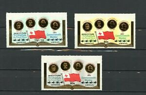 Tonga Mint #CO49-51 Official Air Mail Book and Coins 1971 Self Adh  A517
