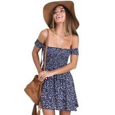 Vestito Donna S Spalle Scoperte Fiori Blu Mini Abito Impero Largo Top Floreale