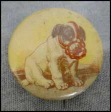 Antique Cameo Pepsin Gum Kitten Boston Terrier Puppy Dog Vintage Pin Pinback