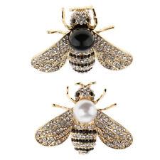 2 Stück Perle Diamant Kristall Honigbiene Brosche Insekt Revers Pin