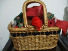 WICKER BASKET WITH HANDLES with Christmas Fabric Ribbon & Persian Crewel Yarn